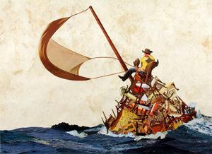 Javier Piñón, Odysseus, 2007, collage, 16 x 21 3/4 inches