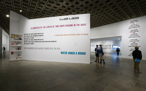 "Lawrence Weiner, exhibition view of ""As Far as the Eye Can See"""