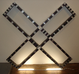 """Rico Gatson, Untitled (X), 2008 4' x 4' x 3"""" Painted wood and lights"""