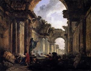 """Hubert Robert, """"Vue Imaginaire de la Grande Galerie en Ruines"""", 1796."""