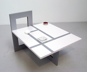 """Alice Könitz, """"Table for a Family of Three Smokers"""""""