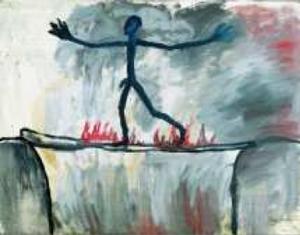 "A.R. Penck, ""Der Übergang/Le Passage"", 1963, oil on canvas, 37 x 47 inches. Via MAM."