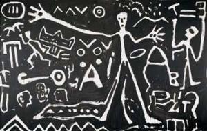 "A.R. Penck, ""Osten/Est"", 1980, acrylic on canvas, 98 x 158 inches. Via MAM."