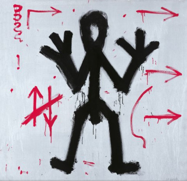 "A.R. Penck, ""Standart"", 1970-72, synthetic resin on canvas, detail of installation of 31 elements."