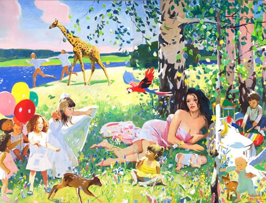 "Vladimir Dubossarsky and Alexander Vinogradov, ""Summer Bubbles,"" 2008, oil on canvas, 116 x 153.5 in"