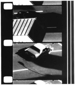 "Ernie Gehr, still image from ""Shift"", 1972-74, 16mm film in b&w, 8:00. Via Light Industry."