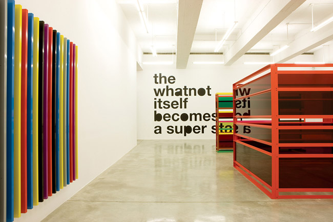 "Liam Gillick, exhibition view, ""The State Itself Becomes A Super Whatnot"". Via Casey Kaplan Gallery."