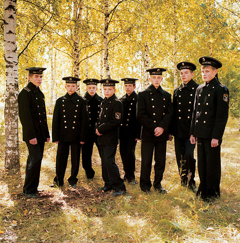 """Michael Chelbin, """"Young Cadets, Russia"""", 2004, C-Print, 37 x 37 inches. Courtesy Andrea Meislin."""