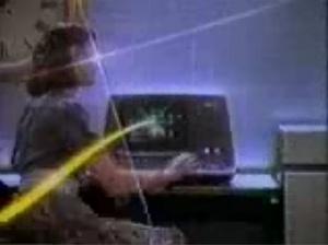 """DaraBirnbaum, """" Pop-Pop Video: Kojak/Wang,"""" 1980."""