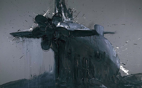 Cui Guotai, Submarine-3, 2007, acrylic on canvas, 95 x 150 in. Via ChinaSquare.