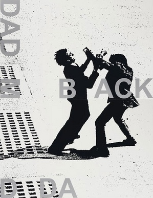 Adam Pendleton, <i>Black Dada (DADM/BACK/DDA)</i>, 2008, silkscreen ink on canvas, diptych.