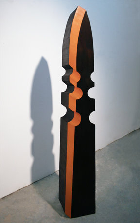 "Rachel Beach, ""The Buccaneer"", 2008, walnut veneer, oil paint, mixed mediums, 38 3/4 x 6 1/2 x 5 1/2"
