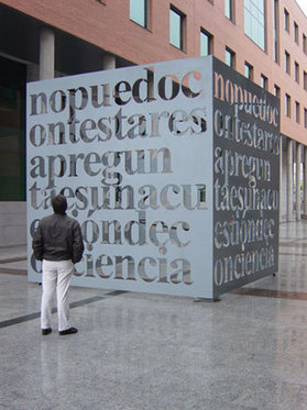 "Liam Gillick, ""I can't answer that question it's a question of conscience"", 2003, aluminum."