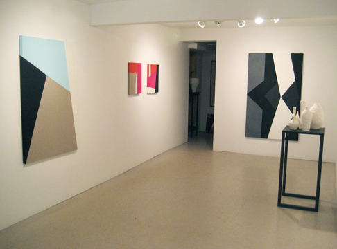 Installation view of Sarah Crowner, Paintings and Pots. Courtesy of Nicelle Beauchene Gallery.